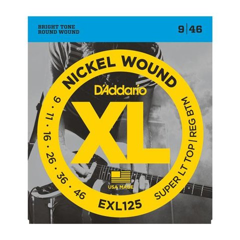 D'Addario EXL125 Nickel Wound Electric Guitar Strings, Super Light Top/ Regular Bottom, 9-46 10 Sets