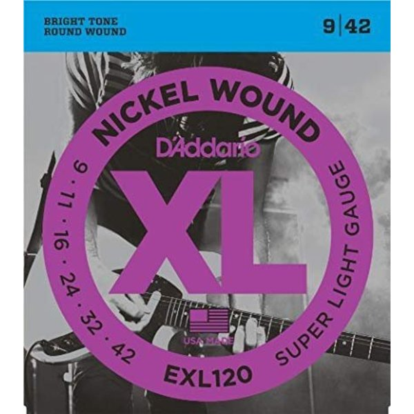 D'Addario Fretted D'Addario EXL120-3D Nickel Wound Electric Guitar Strings, Super Light, 9-42, 3 Sets