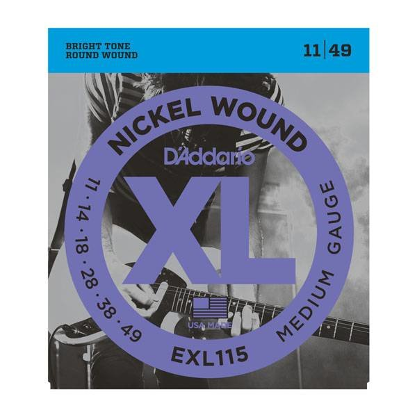 D'Addario Fretted D'Addario EXL115-10P Nickel Wound Electric Guitar Strings, Medium/Blues-Jazz Rock, 11-49, 10 Sets