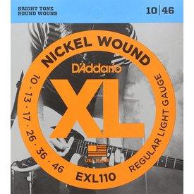 D'Addario Fretted D'Addario EXL110-10P Nickel Wound Electric Guitar Strings, Regular Light, 10-46, 10 Sets