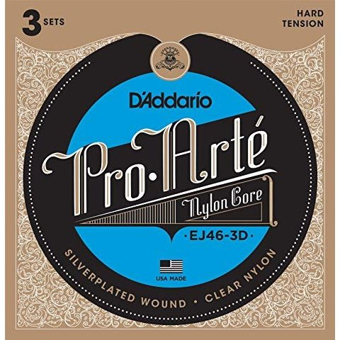 D'Addario EJ46 Pro-Arte Nylon Classical Guitar Strings, Hard Tension 3 Sets