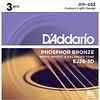 D'Addario EJ26 Phosphor Bronze Acoustic Guitar Strings, Custom Light, 11-52 3 Sets
