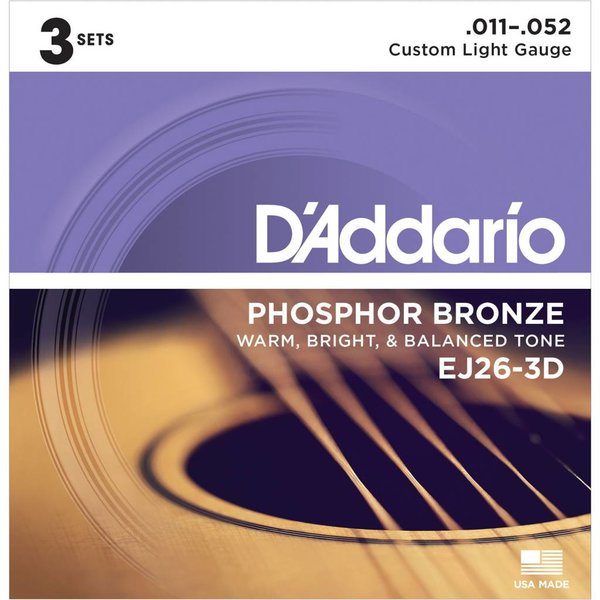 D'Addario D'Addario EJ26 Phosphor Bronze Acoustic Guitar Strings, Custom Light, 11-52 3 Sets