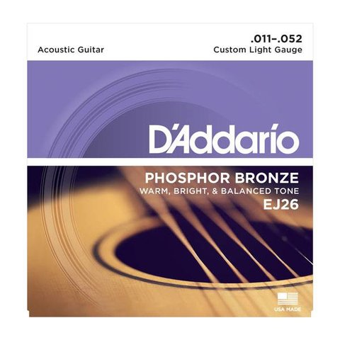 D'Addario EJ26 Phosphor Bronze Acoustic Guitar Strings, Custom Light, 11-52 10 Sets