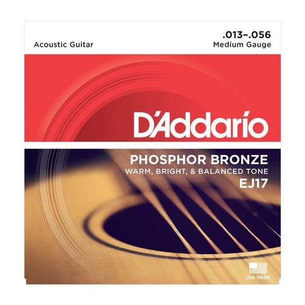 D'Addario D'Addario EJ17 Phosphor Bronze Acoustic Guitar Strings, Medium, 13-56  3 Sets