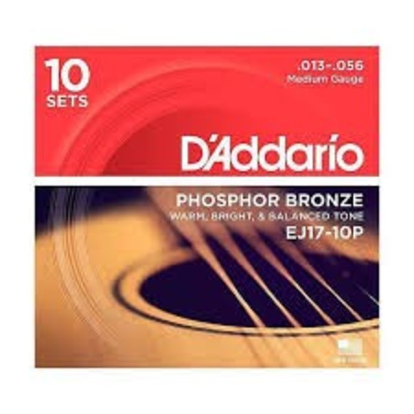 D'Addario D'Addario EJ17 Phosphor Bronze Acoustic Guitar Strings, Medium, 13-56  10 Sets