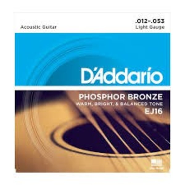 D'Addario D'Addario EJ16 Phosphor Bronze Acoustic Guitar Strings, Light, 12-53 3 Sets