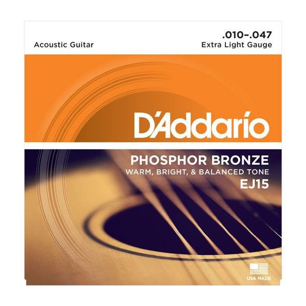 D'Addario Fretted D'Addario EJ15-3D Phosphor Bronze Acoustic Guitar Strings, Extra Light, 3 Sets
