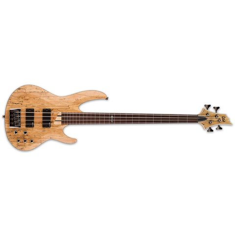 ESP LTD B-204 Spalted Maple Natural Satin B Series Fretless Electric Bass Guitar