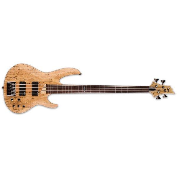 LTD ESP LTD B-204 Spalted Maple Natural Satin B Series Fretless Electric Bass Guitar