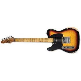 LTD ESP LTD TE-254 Distressed 3-tone Burst Left-Handed Electric Guitar