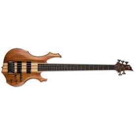 LTD ESP LTD F-5E Ebony Mahogany Natural Satin Electric 5-String Bass Guitar