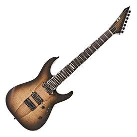 ESP ESP E-II M-II-7 NT Dark Brown Natural Burst 7-String Left-Handed Electric Guitar