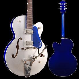 Gretsch Guitars G6118T Plyrs Edtn Anvsry w Strg-Thru Bigsby, Filter'Tron Pickups, 2-Tone Iridium Slvr/Azure Metllc