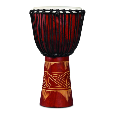 LP World Beat Wood Art Large Djembe, Red w/ Natural