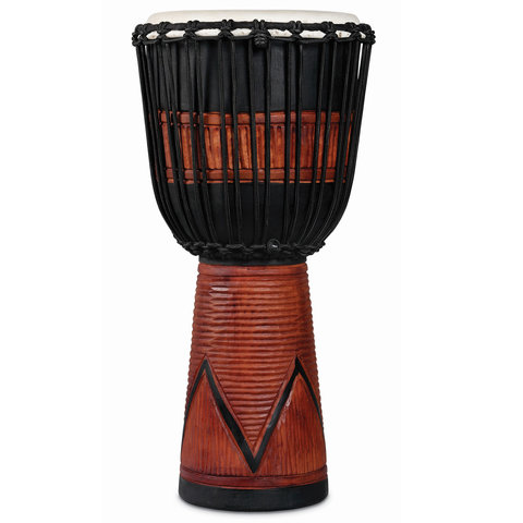 LP World Beat Wood Art Large Djembe, Black w/ Brown