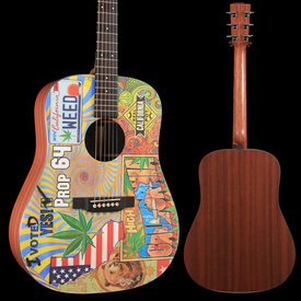 Martin Martin DX420 Robert Goetzl Illustrated Dreadnought Acoustic-Electric Guitar Natural