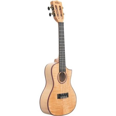 Kala Concert Uke Satin/All Solid Flame Maple Cutaway