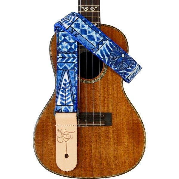 "Kala Kala 1.5"" Strap Handmade In Usa/Blue Tapa Pattern"