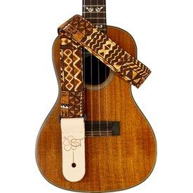"""Kala Kala 1.5"""" Strap Handmade In Usa/Brown Tapa Pattern"""
