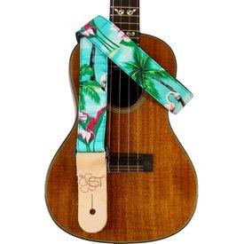 "Kala Kala 1.5"" Strap Handmade In Usa/Colorful Tropical Scenery With Flamingos"