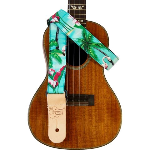 """Kala 1.5"""" Strap Handmade In Usa/Colorful Tropical Scenery With Flamingos"""