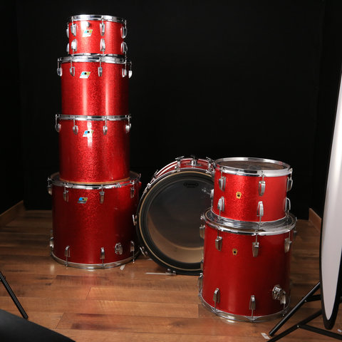 Used Vintage Ludwig 6 pc Shell Pack Red Sparkle