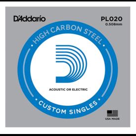 D'Addario D'Addario PL020 Plain Steel Guitar Single String, .020