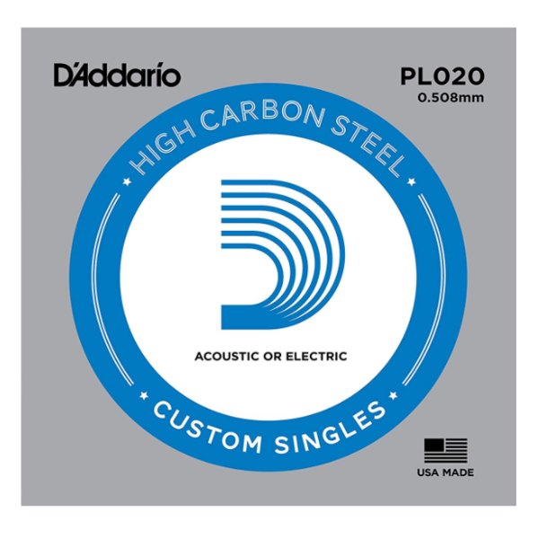 D'Addario D'Addario PL020 Plain Steel Guitar Single String, .020