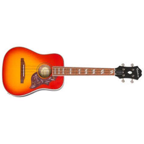 Epiphone EUHTFCNH1 Hummingbird Acoustic-Electric Tenor Ukulele, Faded Cherry Burst, Nickel Hardware