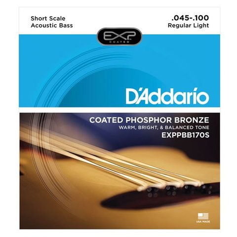 D'Addario EXPPBB170S Phosphor Bronze Coated Acoustic Bass, Short Scale, 45-100