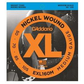D'Addario D'Addario EXL160M Nickel Wound Bass Guitar Strings, Medium, 50-105, Medium Scale