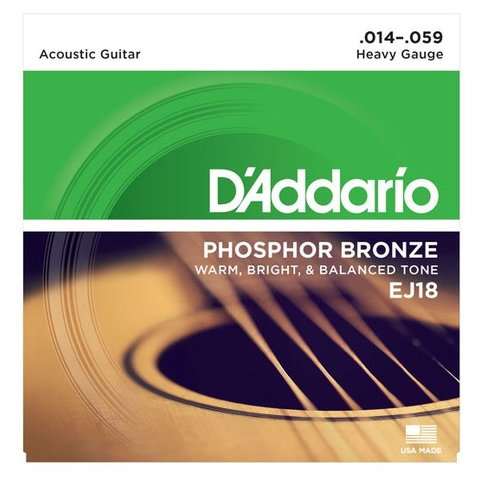 D'Addario EJ18 Phosphor Bronze Acoustic Guitar Strings, Heavy, 14-59