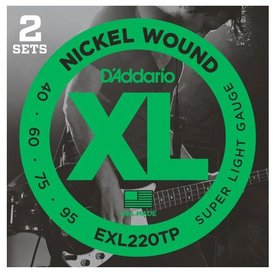 D'Addario D'Addario EXL220TP Nickel Wound Bass Super Light 40-95, 2 Sets, Long Scale