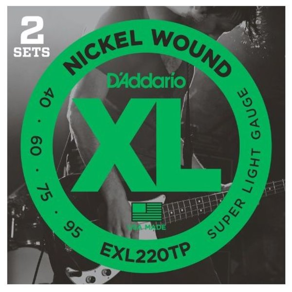 D'Addario D'Addario EXL220TP Nickel Wound Bass Super Light 40-95, 2 Sets, Long Scale