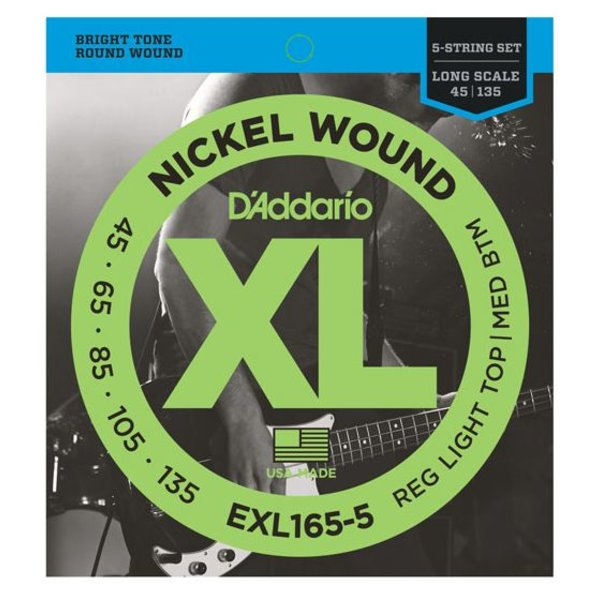 D'Addario Fretted D'Addario EXL165 5-String Nickel Wound Bass Guitar Strings, Custom Light, 45-135, Long Scale