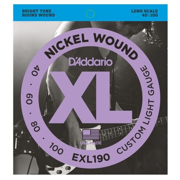 D'Addario D'Addario EXL190 Nickel Wound Bass Strings, Custom Light, 40-100, Long Scale