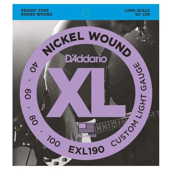 D'Addario D'Addario EXL190 Nickel Wound Bass Strings, Custom Light, 40-100, Long Scale