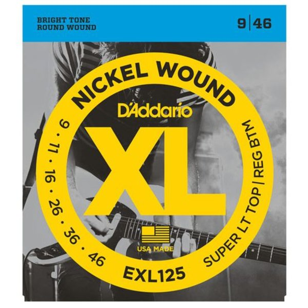 D'Addario D'Addario EXL125 Nickel Wound Electric Guitar Strings, Super Light Top/ Regular Bottom, 9-46