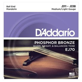 D'Addario D'Addario EJ70 Phosphor Bronze Mandolin Strings, Ball End, Medium/Light, 11-38