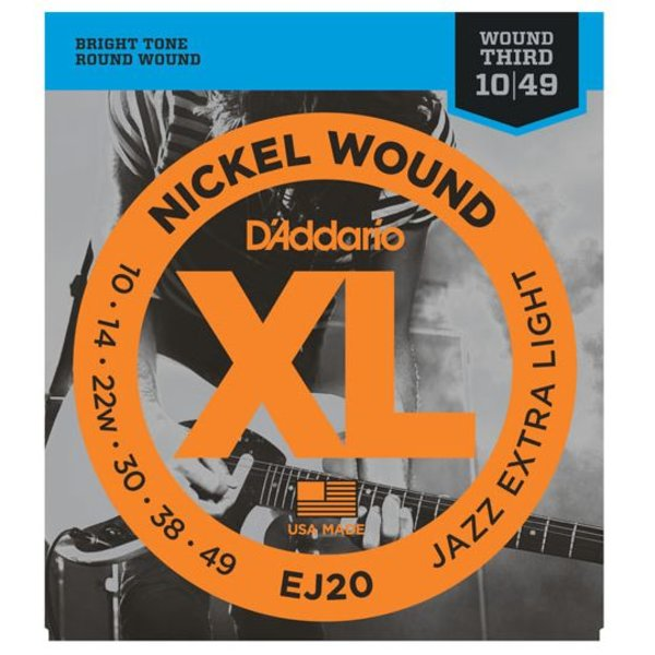 D'Addario D'Addario EJ20 Nickel Wound Electric Guitar Strings, Jazz Extra Light, 10-49