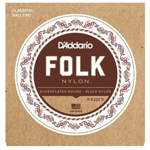 D'Addario EJ32 Folk Nylon Strings, Ball End, Silver Wound/Black Nylon Trebles