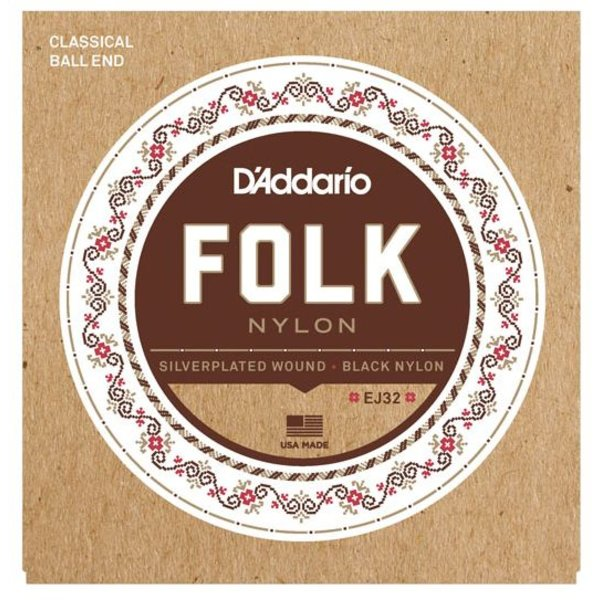 D'Addario D'Addario EJ32 Folk Nylon Strings, Ball End, Silver Wound/Black Nylon Trebles