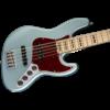 American Elite Jazz Bass V, Maple Fingerboard, Satin Ice Blue Metallic