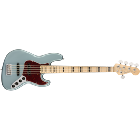 Fender American Elite Jazz Bass V, Maple Fingerboard, Satin Ice Blue Metallic