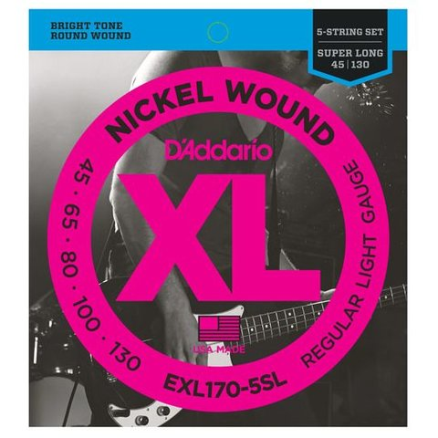 D'Addario EXL170-5SL 5-String Nickel Wound Bass Strings, Light, Super Long Scale