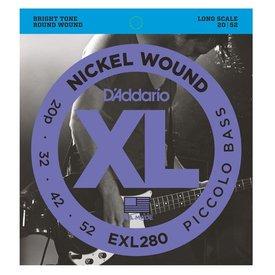 D'Addario D'Addario EXL280 Nickel Wound Piccolo Bass Strings, 20-52, Long Scale