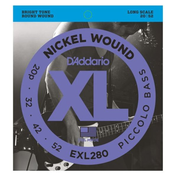 D'Addario D'Addario EXL280 Nickel Wound Piccolo Bass Strings, 20-52, Long Scale