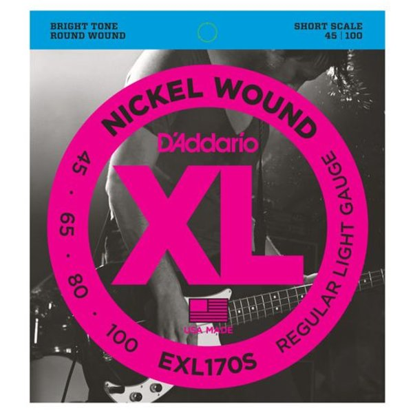 D'Addario D'Addario EXL170S Nickel Wound Bass Guitar Strings, Light, 45-100, Short Scale