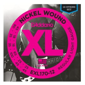 D'Addario D'Addario EXL170-12 Nickel Wound Bass Guitar Strings, Light, 18-45